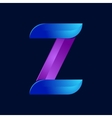 Z letter volume blue and purple color logo design vector image