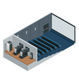 isometric cinema theater with blank screen vector image
