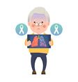 Senior Man have Lung Cancer Ribbon Awareness vector image