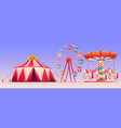 amusement carnival park with circus tent clip art vector image vector image