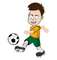boy football player in a yellow shorts and a vector image vector image