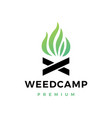 cannabis weed camp fire logo icon vector image vector image