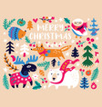 christmas card design template with cozy animals vector image
