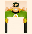 comic super hero holding sign vector image vector image