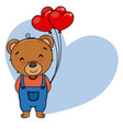 cute bear with heart-shaped balloons vector image vector image
