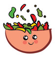 cute smiling pink salad bowl with colorful salad vector image