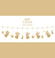 easter card with bunnies chickens angels eggs vector image