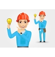 electrician or mechanic pointing to a lamp vector image