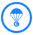 euro parachute rounded icon rubber stamp vector image