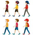 Faceless boys walking vector image vector image