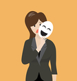 Fake business woman holding a smile mask vector image vector image