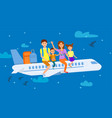 family sitting on airplane cartoon vector image
