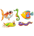 Five sea creatures vector image vector image