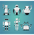 friendly robots collection futuristic design vector image