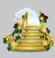 golden stair leading into the snow clouds vector image vector image