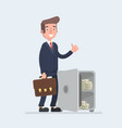 happy smiling rich office worker businessman vector image vector image