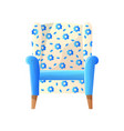home cushioned armchair with white blue floral vector image vector image