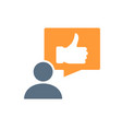human with thumb up in speech bubble colored icon vector image