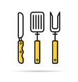 knife fork and spatula for grilling - linear icon vector image vector image