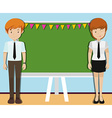 Man and woman in front of blackboard vector image vector image