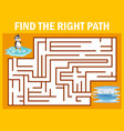 maze game find penguin walk away to pole vector image vector image