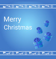 merry christmas banner present bosex on blue vector image