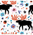 moose flat hand drawn seamless pattern vector image vector image