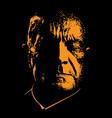 old sad man portrait in contrast backlight vector image