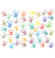 pastel colorful hand print multi style on white vector image vector image