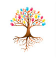 people hand tree for diversity teamwork vector image vector image