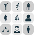 person icons set collection of work man happy vector image vector image