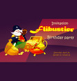 pirate with treasure invitation childrens party vector image vector image