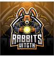 rabbit witch esport mascot logo vector image vector image