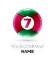 realistic number seven symbol in colorful circle vector image vector image
