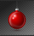 realistic red christmas ball with silver ribbon vector image