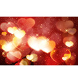 Red golden Valentines day bokeh shiny vector image
