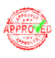 red grunge rubber stamp approved with green check vector image