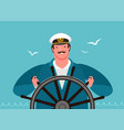 sailor at helm ship sailing cruise vector image