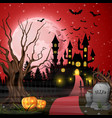 scary castle with pumpkins and bats in the woods vector image vector image