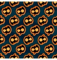 seamless pattern halloween orange black pumpkins vector image