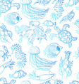 Seamless pattern with sea inhabitants on a white vector image vector image