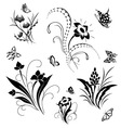 Set with butterflies and flower patterns vector | Price: 1 Credit (USD $1)