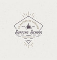 surf school emblem in unique retro style best for vector image vector image