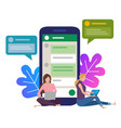 the girl next to a huge phone chat in social vector image vector image