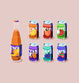 tin cans and glass bottle with juice or lemonade vector image