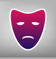 tragedy theatrical masks purple gradient vector image