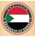 Vintage label cards of Sudan flag vector image