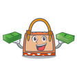 with money hand bag mascot cartoon vector image