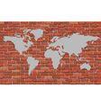 World map on a brick wall vector image vector image