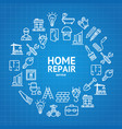 home repair concept round design template line vector image